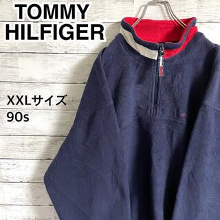 トミーヒルフィガー(TOMMY HILFIGER)の【激レア】トミーヒルフィガー☆刺繍ロゴ ハーフジップ フリース スウェット90s(スウェット)