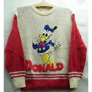 ディズニー(Disney)の古着☆ドナルド☆DONALD☆ニットセーター☆白赤M長袖☆ディズニー(ニット/セーター)
