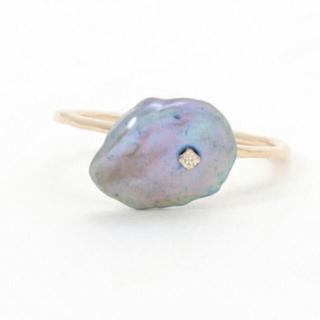 agete - アガット 藍染リング k10 淡水パール ダイヤモンド