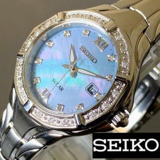 セイコー(SEIKO)のセイコー ソーラー ライトブルーパール文字盤 SEIKO レディース腕時計(腕時計)