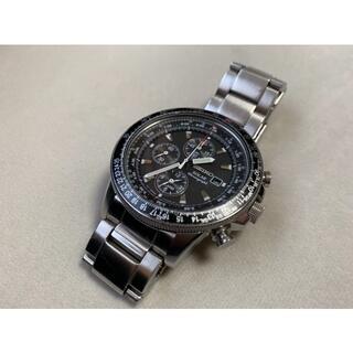 SEIKO - SEIKO◆ソーラー腕時計/パイロット/BLK/SLV/V172-0AC0