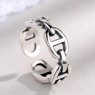 フリーサイズ ヴィンテージロックチェーン シルバーリング silver925