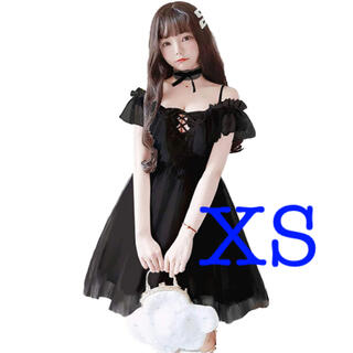 XS ブラック 可愛い ロリータ系 レデ可愛い ロリータ系 オフショルダー (ひざ丈ワンピース)