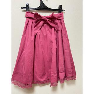エブリン(evelyn)のevelyn  アンミール バックリボン 裾レーススカート ピンク(ひざ丈スカート)