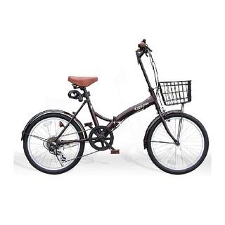 20インチ折りたたみ自転車 シマノ社製6段変速ギヤ カゴ付 ワイヤー(自転車本体)