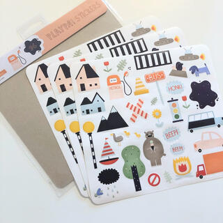 新品 Olli Ella PLAYPA STICKERS - ROAD 男の子
