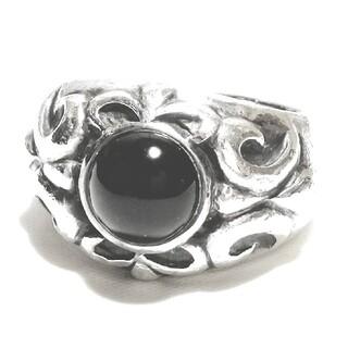 ブランド刻印 シルバー925 ゴシック デザイン オニキス シルバーリング(リング(指輪))