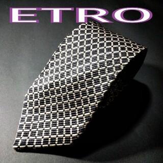 エトロ(ETRO)の【極美品】ETRO チェック ネクタイ ブラック(ネクタイ)