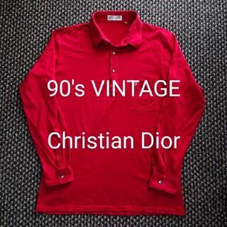 DIOR HOMME - 90′s ビンテージ Christian Dior ロゴ刺繍入り 長袖ポロシャツ