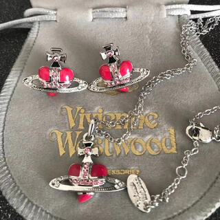 ヴィヴィアンウエストウッド(Vivienne Westwood)の新品 ネックレスピアスセット ピンク✖︎シルバー(ネックレス)