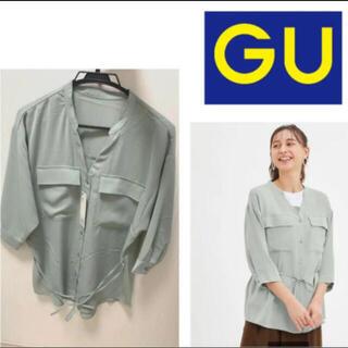 ジーユー(GU)の【新品タグ付き‼️】gu マットサテンダブルポケットシャツ(7分袖(シャツ/ブラウス(長袖/七分))