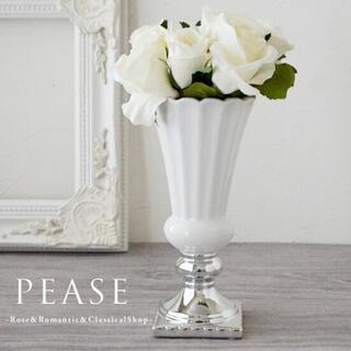 フラワーベース 花瓶  ホワイト シルバー