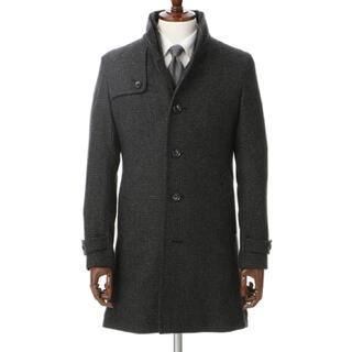 PERSON'S - 新品 パーソンズ コート スタンドカラー M ウール グレー チャコール