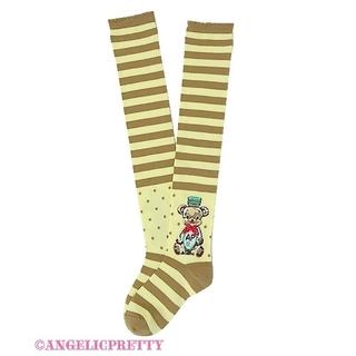 アンジェリックプリティー(Angelic Pretty)の【Angelic Pretty】Honey Cakeボーダーオーバーニー(ソックス)