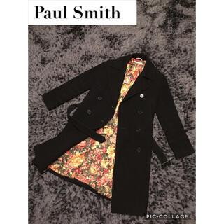 ポールスミス(Paul Smith)の美品 ポールスミス ロングコート 総柄 花柄 40 M ブラック(ロングコート)