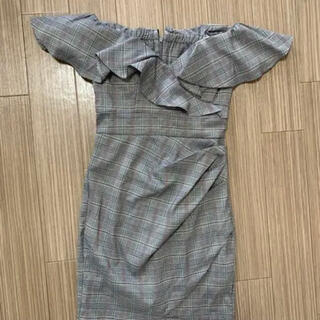 JEWELS - オフショル  ドレス グレンチェック  M