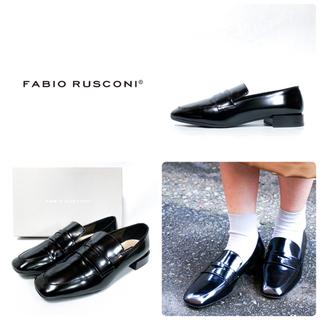 FABIO RUSCONI - ■美品 定2.7万 ファビオルスコーニ ローファー 38 24 スクエアトゥ 黒
