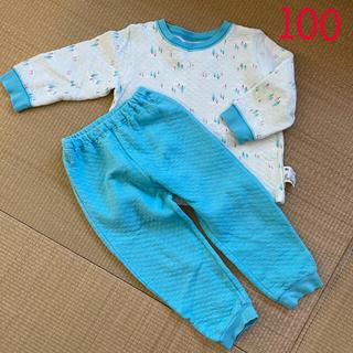 ユニクロ(UNIQLO)のユニクロ キルトパジャマ 水色 100(パジャマ)