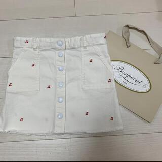 ボンポワン(Bonpoint)のBonpoint デニム ホワイトスカート 美品(スカート)
