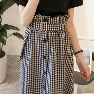 【XL/ブラックチェック】ギンガムチェックスカートとTシャツ(ひざ丈スカート)