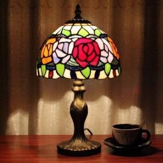 薔薇ステンドグラスティファニーランプ照明インテリア(テーブルスタンド)
