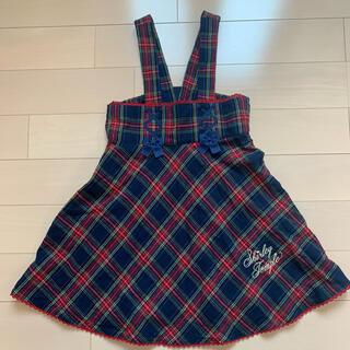 Shirley Temple - シャーリーテンプル レースアップ タータン ジャンパースカート 120