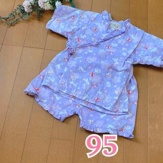 ★ 甚平 浴衣 ★ ベビー キッズ / フリル / 女の子 / うさぎ 紫(甚平/浴衣)