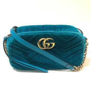 Gucci - グッチ 447632 シェブロン GGマーモント ベロア ショルダーバッグ
