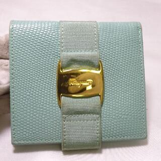 サルヴァトーレフェラガモ(Salvatore Ferragamo)のフェラガモ ヴァラ ferragamo 二つ折り財布 グリーン ゴールド金具(財布)