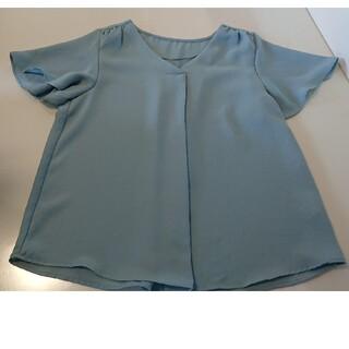 ジーユー(GU)のGU シフォントップス インナー カットソー 半袖 ブルー(カットソー(半袖/袖なし))