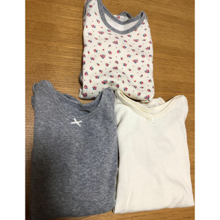 ニシマツヤ(西松屋)のロンパース 長袖 3枚組(女の子/90)(下着)