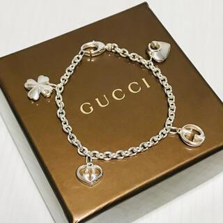 Gucci - GUCCI ブレスレット 美品 ハート クローバー インターロッキング