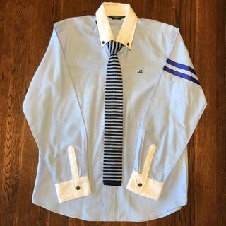 0413様専用★ボタンダウン クレリックシャツ 160 ネクタイ付き ニットタイ(ドレス/フォーマル)