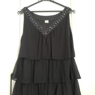 アクシーズファム(axes femme)の美品 アクシーズ ドレス ブラック ノースリーブワンピース(ミディアムドレス)