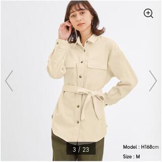 ジーユー(GU)のコーデュロイベルテッドオーバーサイズシャツ(シャツ/ブラウス(長袖/七分))