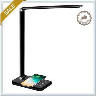 デスクライト LED ワイヤレス充電対応 省エネ USB充電ポート付(テーブルスタンド)