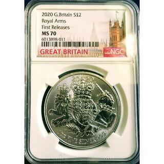 イギリス ロイヤルアーム 2ポンド1オンス 銀貨 NGC MS70 2020(貨幣)