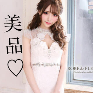 ローブ(ROBE)のROBE de FLEURS/ローブドフルール 立体フラワーレース ホワイト(ナイトドレス)