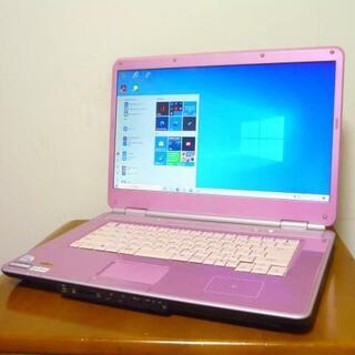エヌイーシー(NEC)の16型ワイド大画面 希少可愛いピンクカラー便利ソフト多数 最新win10(ノートPC)