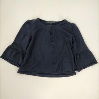 アナイ(ANAYI)のアナイ 38/M フレアスリーブトップス ブラック 7分袖 ショート丈 シンプル(カットソー(長袖/七分))