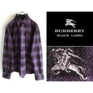 BURBERRY BLACK LABEL - 希少 バーバリーブラックレーベル ホースロゴ刺繍 チェックネルシャツ 2