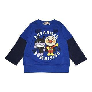 アンパンマン(アンパンマン)の新品 95cm アンパンマン 裏起毛フェイクレイヤード長袖トレーナー ブルー(Tシャツ/カットソー)