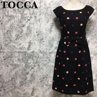 TOCCA - トッカ ボンボンフラワー 刺繍 花柄 リボン ワンピース 黒 XS相当