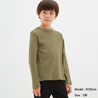 ジーユー(GU)のGU ソフトコットンクルーネックT 長袖 カーキ 140cm(Tシャツ/カットソー)