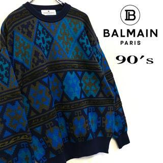 ピエールバルマン(Pierre Balmain)の美品 90's BALMAIN デザインニット 古着 総柄セーター メンズL (ニット/セーター)