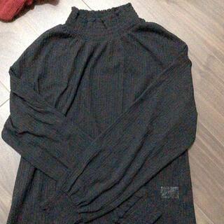 ジーユー(GU)のGU フリルブラウス ブラック S(シャツ/ブラウス(長袖/七分))