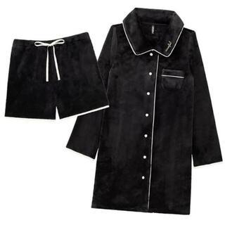 エメフィール(aimer feel)のフリース ワンピース パジャマ 上下セット モコモコ ブラック(ルームウェア)