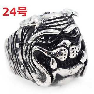 アメリカン ジュエリー ブルドッグ 犬 DOG シルバー リング 指輪 24号(リング(指輪))