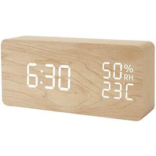 【新品】目覚まし時計 LEDデジタル 大音量 木目調 おしゃれ 置き時計 調光
