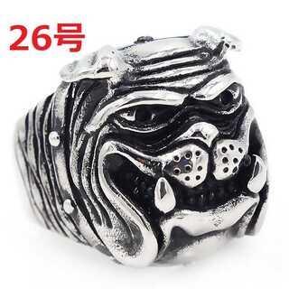 アメリカン ジュエリー ブルドッグ 犬 DOG シルバー リング 指輪 26号(リング(指輪))